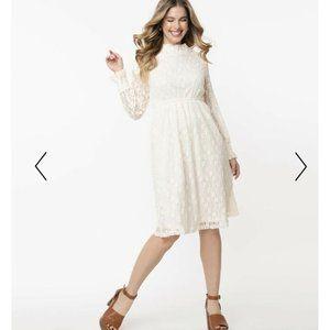 NEW Polagram Ivory Floral Lace Knee Length Dress L